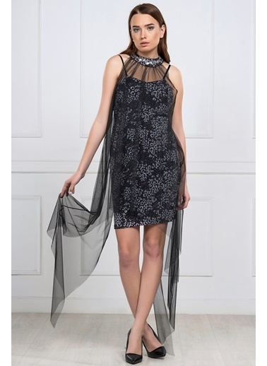 İroni Abiye Elbise Siyah